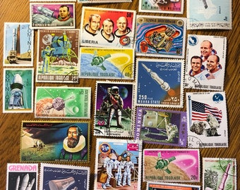 25 NASA Apollo SPACE Used World Postage Stamps crafting collage cards altered art scrapbooks decoupage collecting philately 5c