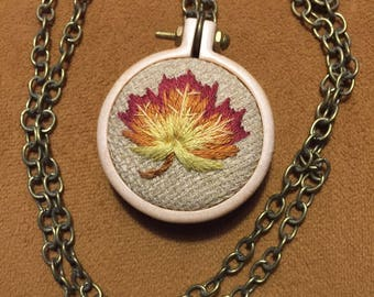Fall Autumn Leaf Necklace embroidered wooden hoop