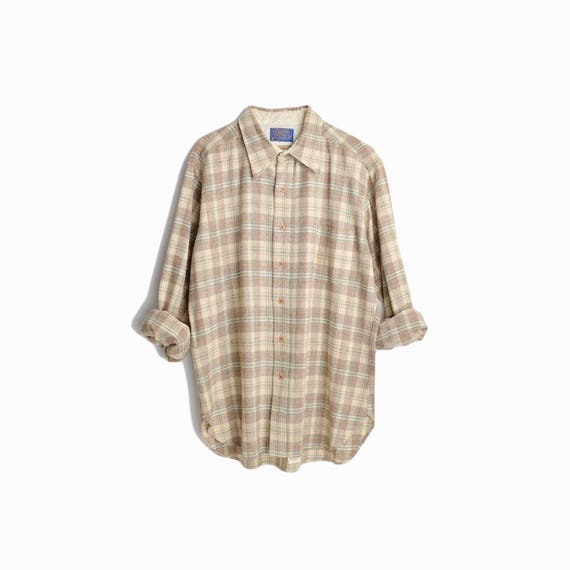 Vintage Pendleton Plaid Wool Shirt in Brown & Cream / 1970s Pendleton Woolen Mills / Plaid Work Shirt - men's large