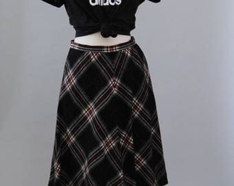Vintage Plaid Skirt 70s Tartan Plaid Pendleton Circle Skirt High Waist Skirt S M