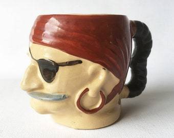 Rare 1960s Trader Vic Ceramic Pirate Mug, Pirate Head Coffee Mug, Mid Century Pop Culture Kistch