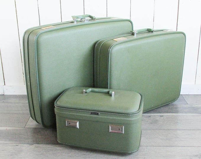 Featured listing image: 3 Piece Mid Century Wheary Avocado Green Luggage Set - Two Suitcases & Train Case