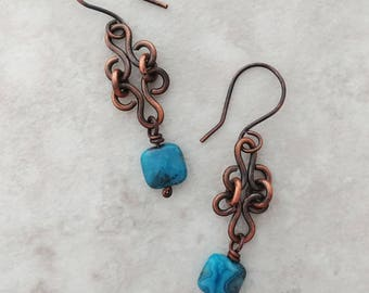 Handmade Earrings Wire Wrapped in Copper w Crazy Lace Agate.