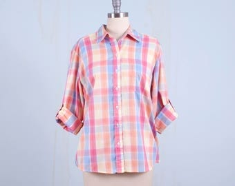 80's Pastel Plaid Blouse Button Up Shirt Peachy Pink Hipster Large