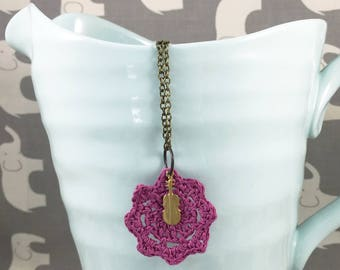 Orchid Crocheted Doily Necklace with Brass Violin Charm - How Do You Feel About the Violin? Necklace // Sherlock Jewelry // Charm Necklace