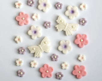 Edible Fondant Girly Pink Flowers and Butterflies Cake Cupcake Topper Decoration