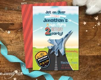 Printable Aviator Birthday Invitation - Fighter Pilot - Top Gun Invitation - Fighter Jet - Airplane - Big Jet