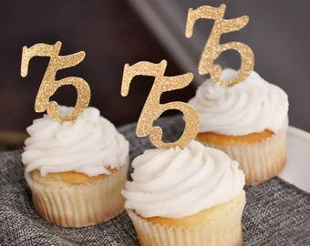 "75th Birthday Party Decor.  Handcrafted in 2-5 Business Days. ""75"" Cupcake Toppers 12CT.   75th Anniversary Cupcake Toppers."