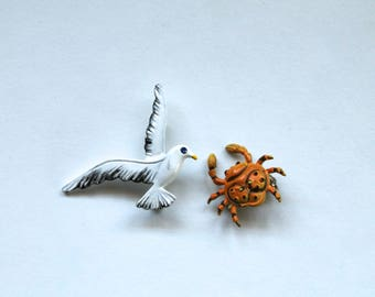 Vintage 1950's Mid Century Seagull and Crab Pin/Brooch Lot! Mid Century Costume Jewelry!