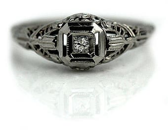 Filigree Diamond Ring Art Deco Engagement Ring .05ct Vintage  European Cut Antique Solitaire Diamond Ring 18K White Gold Petite Diamond Ring