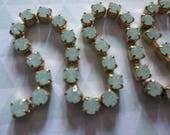 3mm Green Opal Rhinestone Chain - Brass Setting - Chrysolite Green Opal Preciosa Czech Crystals