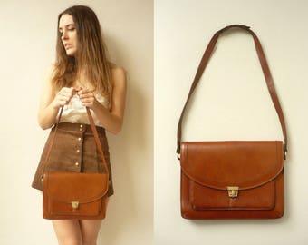 1970's Vintage Faux Leather Satchel Shoulder Bag Festival Bag