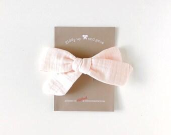 Oversize Summer Bow French Barrette in Ballerina Pink Double Gauze, Schoolgirl Bow, giddyupandgrow