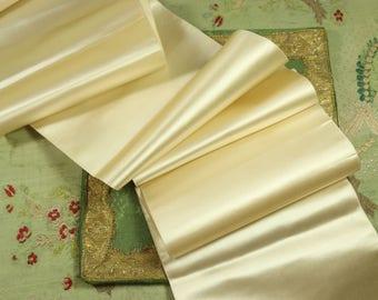 "1 yard  Antique silk satin ribbon cream white ivory  6.5"" wide badge making  taffeta millinery hat trim french dolls dress"