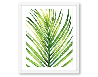 Palm Leaf Print - Palm Art Print - Palm Leaf Wall Art - Beach Decor - Coastal Wall Art - 8x10 on 8.5x11 paper - Frame Not Included