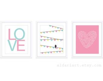 Girl Nursery Wall Art - Bird On Garland Print Love Print Heart Print - Pink Blue Yellow Nursery Decor - Modern Decor