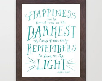 Happiness Dumbledore Quote Print Harry Potter Light instant digital printable download blue aqua watercolor whimsical hand drawn type