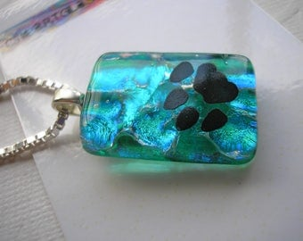 Dichroic Glass Paw Pendant Blue Green Swirl .925 Sterling Silver Italian Box Chain Diamond Cut Necklace Fused Glass Teal  Jewelry Sparkle