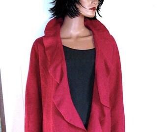Jones New York Marino Magenta  Wool  Bohemian Jacket Sweater Size Large MINT Condition