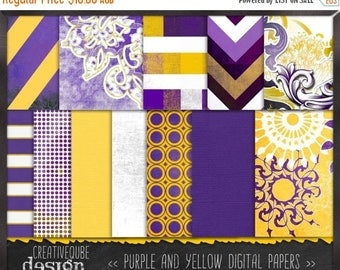 80% Off SALE Digital paper, Digital Scrapbook paper pack - Instant download - 12 Digital Papers - Purple and yellow