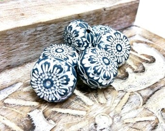 Blue with white accent stamped Bead Set for Jewelry Making, Artisan Beads, Hollow Polymer Clay Beads, Textured Bead, Rustic Tribal Style