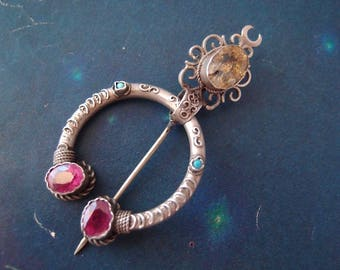 R E S E R V E D antique Victorian French Penannular Brooch Shawl Pin silver Citrine turquoise Cloak clasp Medieval Middle Ages Revival 1870s