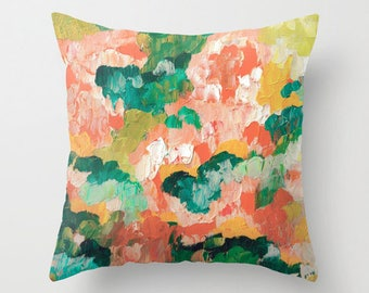 Throw Pillow Peach Abstract Artwork printed on Pillow Unique Throw Pillow FULL PILLOW
