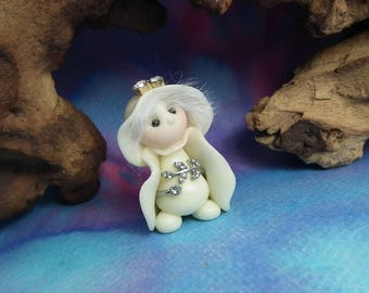 """Tiny 'Gaylen' Ghost Princess Gnome with jewels 1+1/2"""" glow-in-the-dark by Sculpture Artist Ann Galvin Art Doll"""