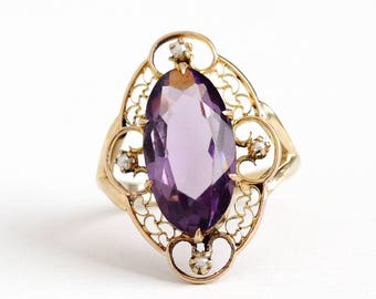 Antique 14k Rosy Yellow Gold Simulated Amethyst & Seed Pearl Ring - Vintage Size 5 1/2 Edwardian Purple Glass Fine Pin Conversion Jewelry