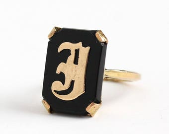 Vintage 10k Rosy Yellow Gold Filled Black Onyx Initial Letter J Signet Ring - Art Deco 1940s Size 6 Black Gemstone Monogrammed Jewelry