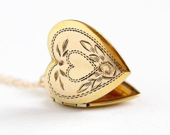 Vintage Heart Locket - 12k Yellow Gold Filled Sweetheart Flower Heart Necklace - 1940s WWII Era Floral Pendant Romantic Valentine Jewelry