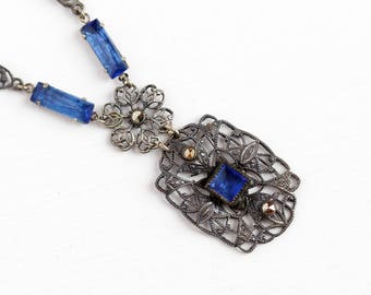 Art Deco Necklace - 1920s Vintage Simulated Sapphire Blue Glass Stones - Silver Tone Filigree Lavalier Marcasite Costume Flower Jewelry