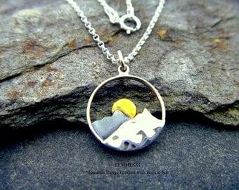 Mountain Range Necklace - 925 Sterling Silver Mountain Pendant - Mountain Jewelry - Wilderness Jewelry - Sun Necklace - Hiker Jewelry