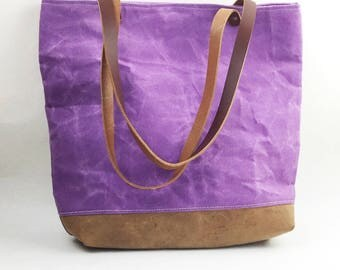 Waxed Canvas Bag/Canvas Leather Tote/Leather Straps/Purple Bag