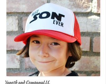 Best Son Ever Kids Trucker Hat,Best Son Ever Youth Trucker Hat,Red and White Youth Trucker Hats,Black and White Kids Trucker hat,Best son