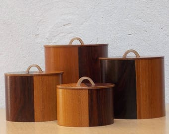 Danish Modern Rosewood & Teak Canister Set by Woodcrest