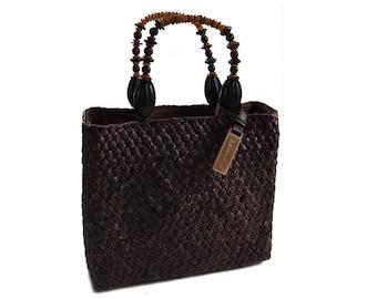 Vintage Anne Klein Woven Straw Handbag Purse with Beaded Handles - Chocolate Brown with Original Wood Tag - Hip Vintage