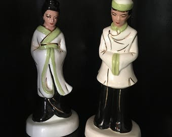 1950's Asian Ceramic Couple Chalkware Style Black White Green Mid Century Modern MCM Mad Men