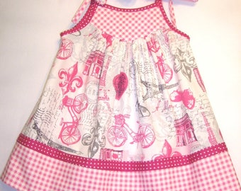 Little Girl's/Toddler Girl's/Baby Girl's Sundress in Pink and White with Pink and White Check Border and Yoke and Pink Polka Dot Ties