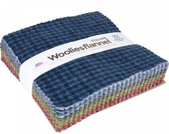 """ON SALE Woolies Flannels Colors Charm Pack Quilt Fabric  42   5"""""""