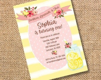 Lemonade Birthday Invitation Floral Pink Yellow Striped Invite Girl Lemon Watercolor Summer Printable Party Baby Shower Bridal Shower BBQ