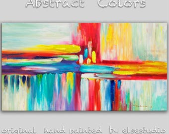 """Sale Abstract Movement Art  Painting, Original Texture wall Art, abstract oil painting, Multi colors Modern Home Decor, by Tim Lam 48"""" x 24"""""""