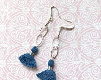 Sterling Silver Chain and Denim Blue Tassel Dangle Earrings Boho Gypsy Classic Long Casual Navy Drop Everyday Jewelry Under 25 Lightweight