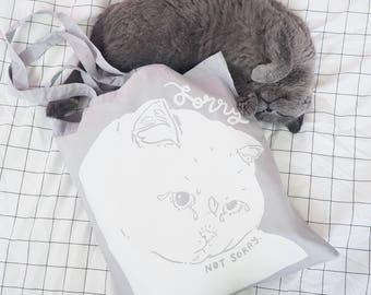 Cat Tote Bag - Cat Bag, white cat cotton bag, cat shopping bag, RBF, gift for cat lover, cat lover gifts, screen printed tote bag, tote bag
