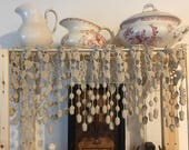 RESERVED4U,PATRICIA S:  French Country Curtain Handmade Needlework with Hanging Trim, Lace and Acorns