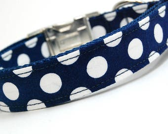 Handmade Dog Collar - Let's Live in the 50's - Custom Made Navy and White Polka Dot Dog Collar - Collar with Dots