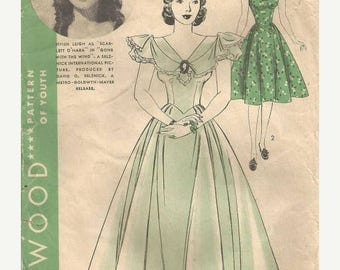 ON SALE Vivien Leigh as Scarlett O'Hara Rare Gone With the Wind Dress Pattern Hollywood 1987 Bust 34 Women's Vintage Sewing Pattern
