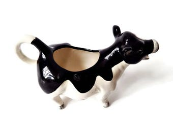 Vintage Cow Creamer, Made in Japan Collectible Otagiri Cow Figurine, 1950's Farmhouse Decor, Black and White Holstein Creamer