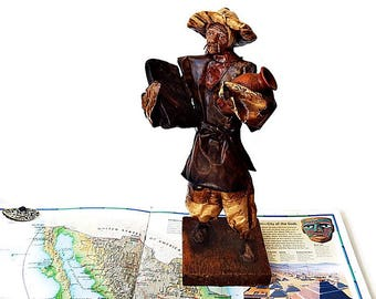 Vintage Mexican Sculpture/ Handcrafted Paper Mache Peasant Folk Art Figurine/ Cartonería  Man with a Jug