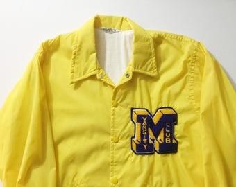 Vintage Windbreaker, Yellow windbreaker, team jacket, Varsity Club windbreaker, Nylon Jacket, team windbreaker